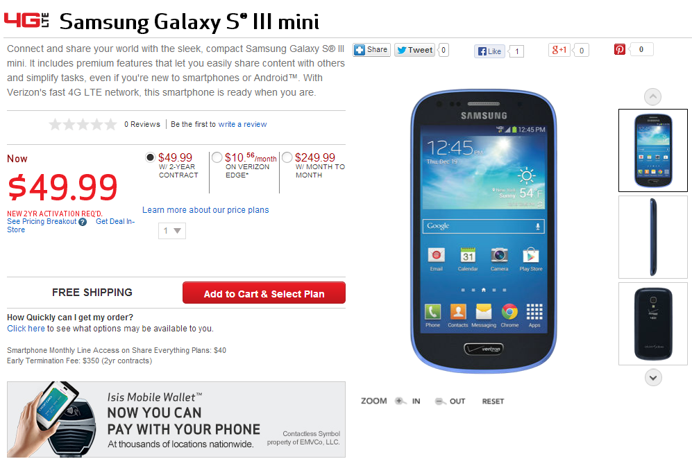 Verizon Launches The Samsung Galaxy S Iii Mini 50 And Galaxy S4