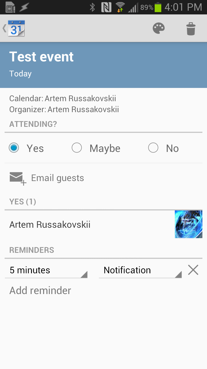 Android calendar widget not updating