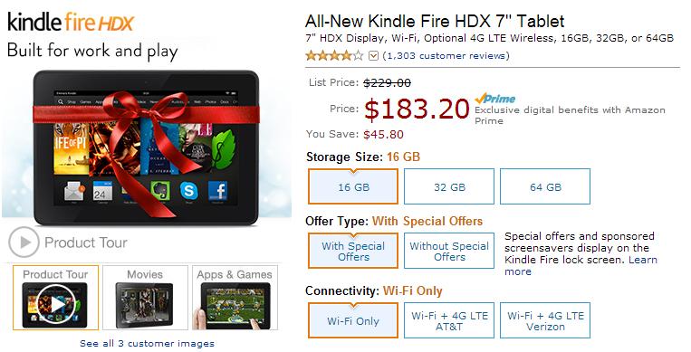 Cyber monday deals kindle fire hdx