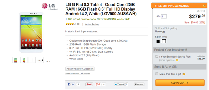 Newegg Cyber Monday Sale Has The LG G Pad 8.3 And Other Goodies Available For Cheap