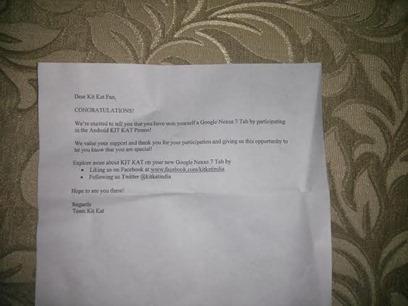 Nexus 7 winning letter