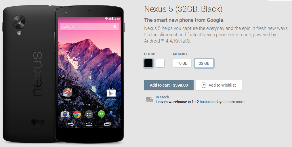 Black 32 GB Nexus 5 Back In Stock At US Google Play Store, Shipping In 1-2 Days [Updated]
