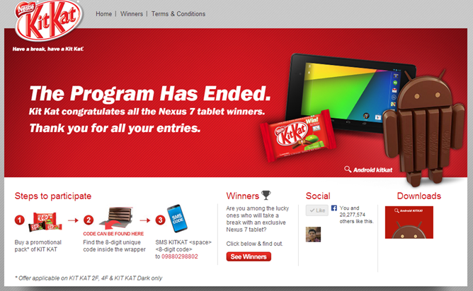 kitkat nexus 7 contest india