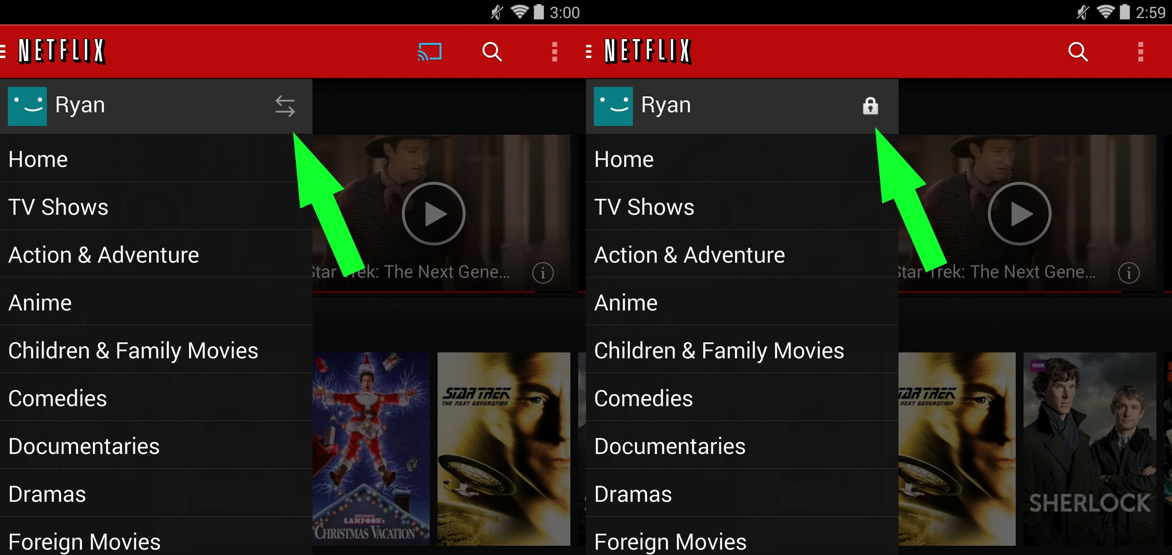 Netflix change profile