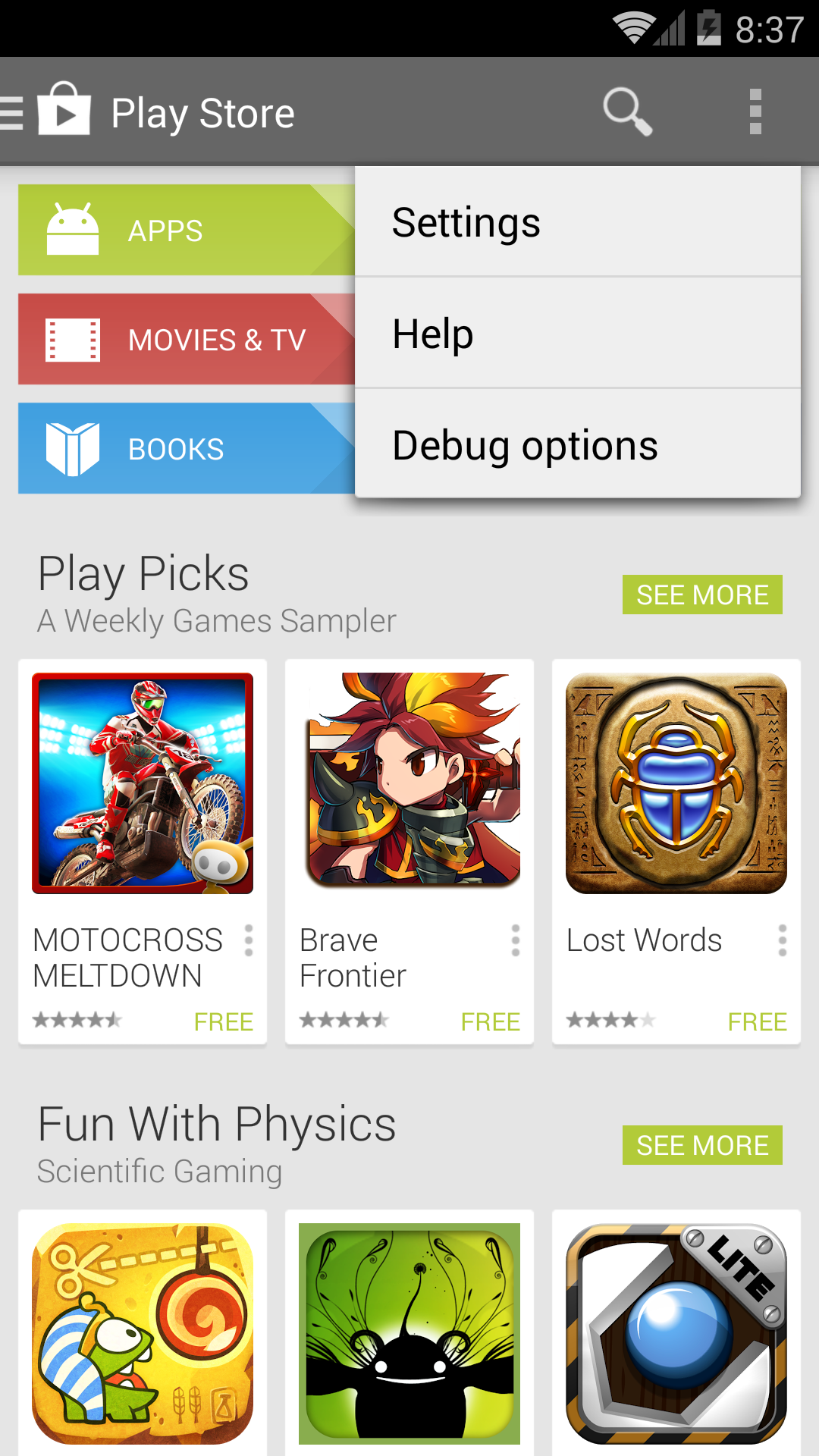 The google play store app has a hidden debug menu and Play app