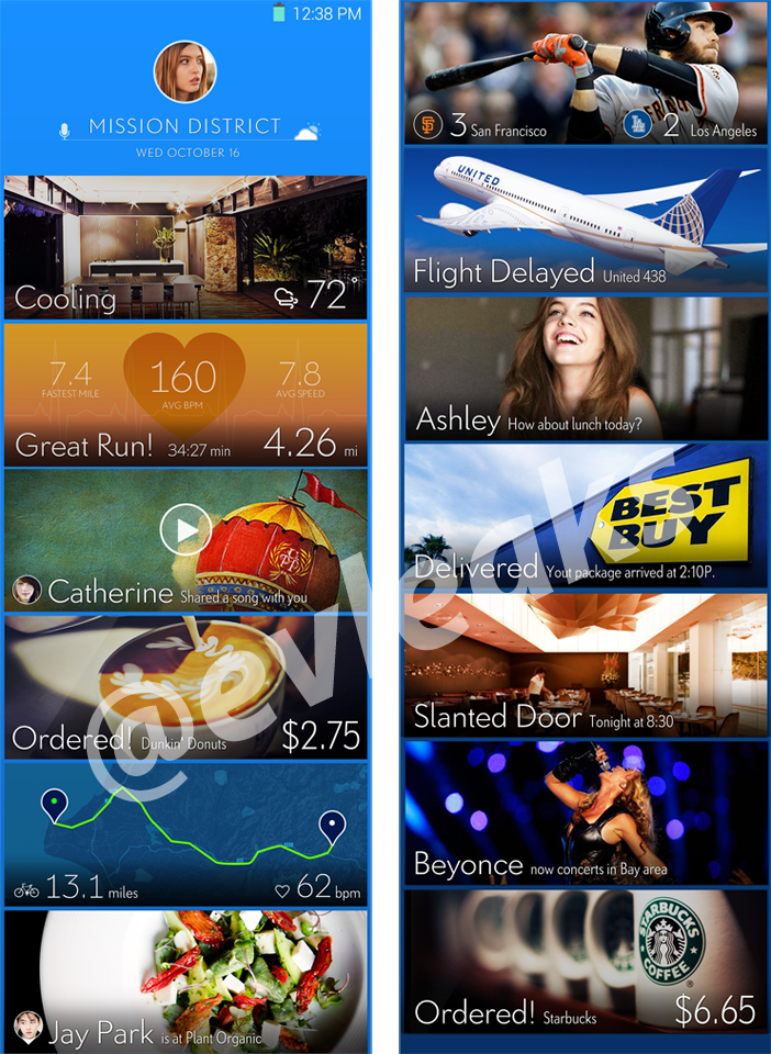 Another Look At Alleged Samsung UI Experimentation From @evleaks Shows More Possible Predictive Cards