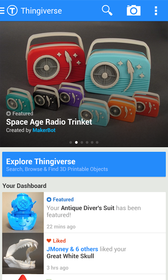 New App] MakerBot's Thingiverse Android App Squeezes