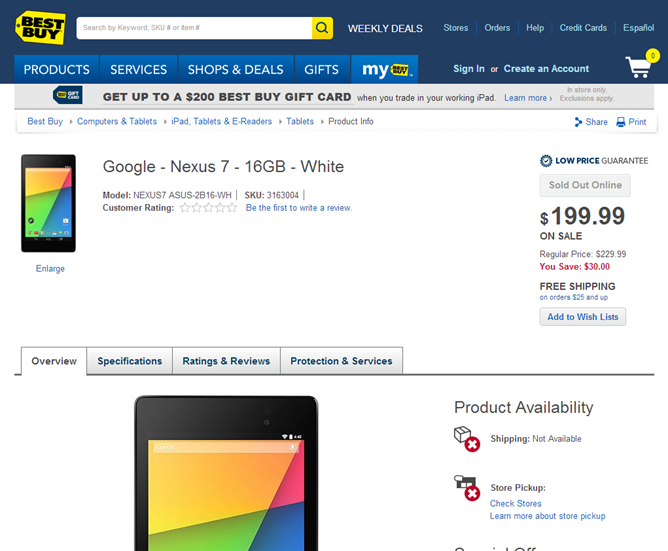 White 16GB Nexus 7 2013 Briefly Showed Up At Best Buy Before Being Taken Down - Did Someone Pull The Trigger Early?