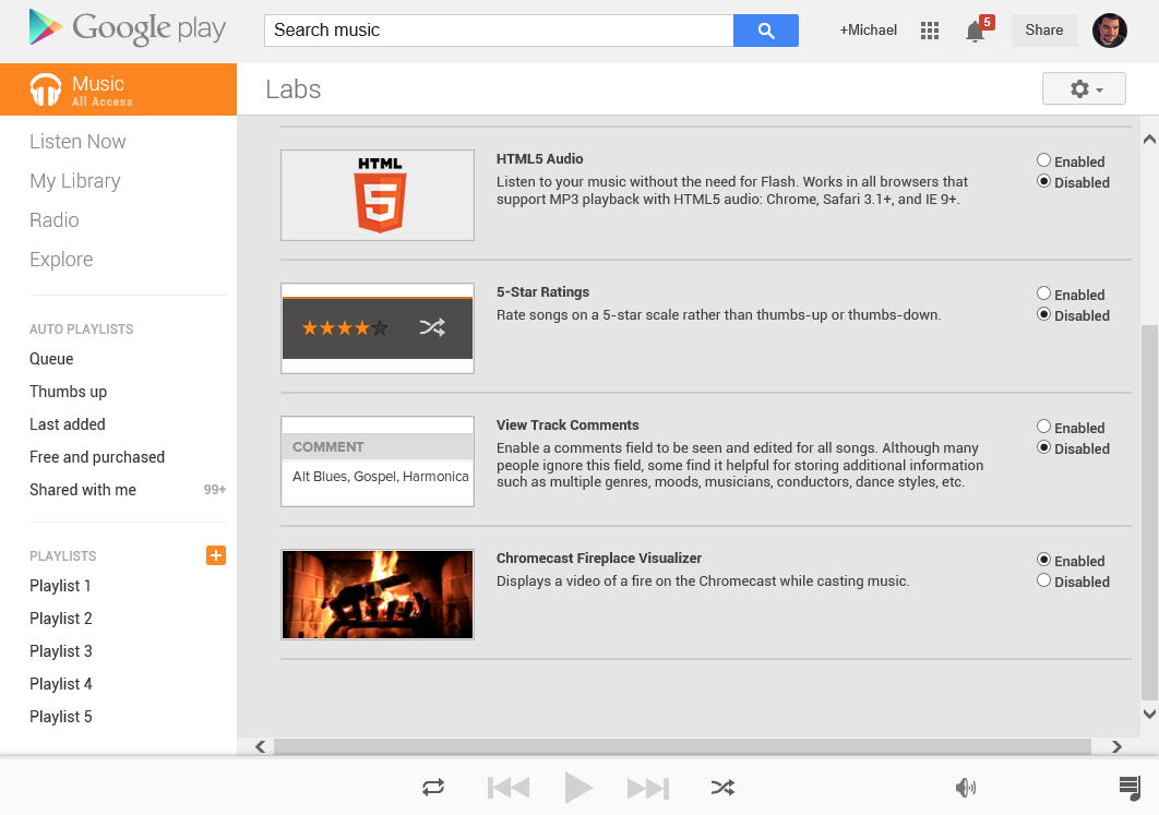 google play music labs adds a fireplace visualizer for your