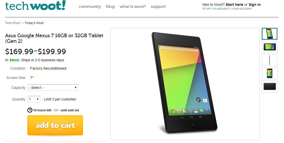 [Deal Alert] Woot Has The Nexus 7 2013 On Sale: 16GB For $169.99, 32GB For $199.99 (Refurbished)