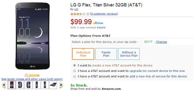 2014-03-28 11_31_10-Amazon.com_ LG G Flex, Titan Silver 32GB (AT&T)_ Cell Phones & Accessories