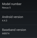 A Nexus 5 device showing 4.4.3 version