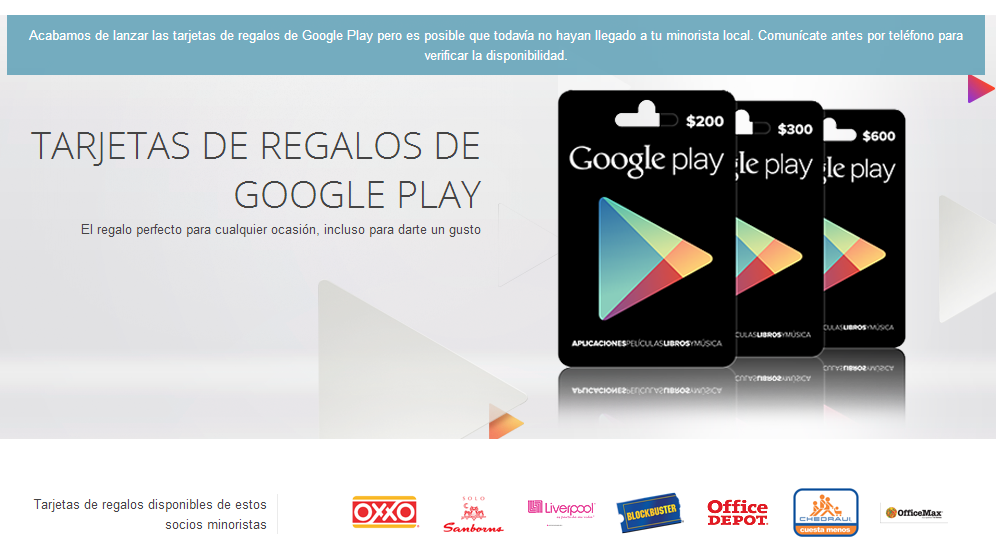 Google Play Gift Cards Now Live In Mexico 7 Retail Partners Lined