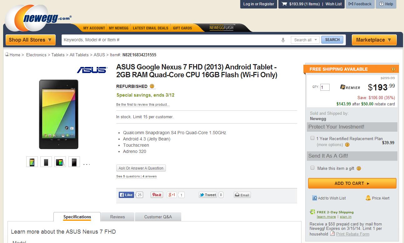 deal alert] refurbished 16gb nexus 7 2013 is $193.99 ($244.99 for