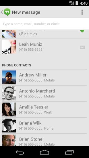 Google Hangouts Updated To V2 1 With Merged Sms Hangout Conversations Status In Chats Widget