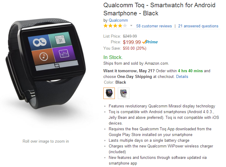 [Deal Alert] Qualcomm Toq Smart Watch On Sale For $199 ...