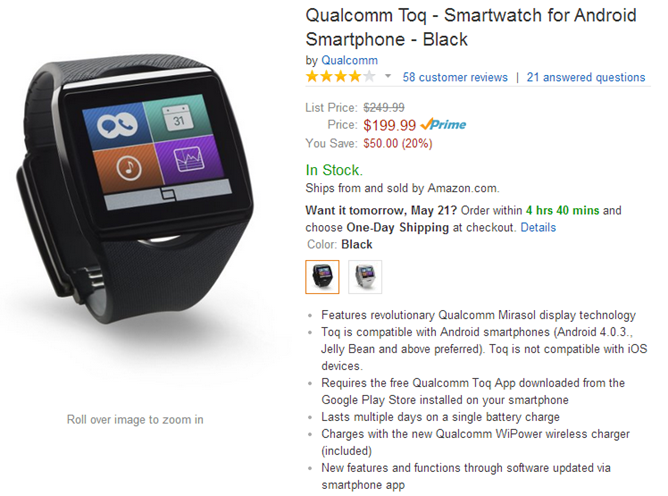 2014-05-20 13_19_20-Amazon.com_ Qualcomm Toq - Smartwatch for Android Smartphone - Black_ Cell Phone