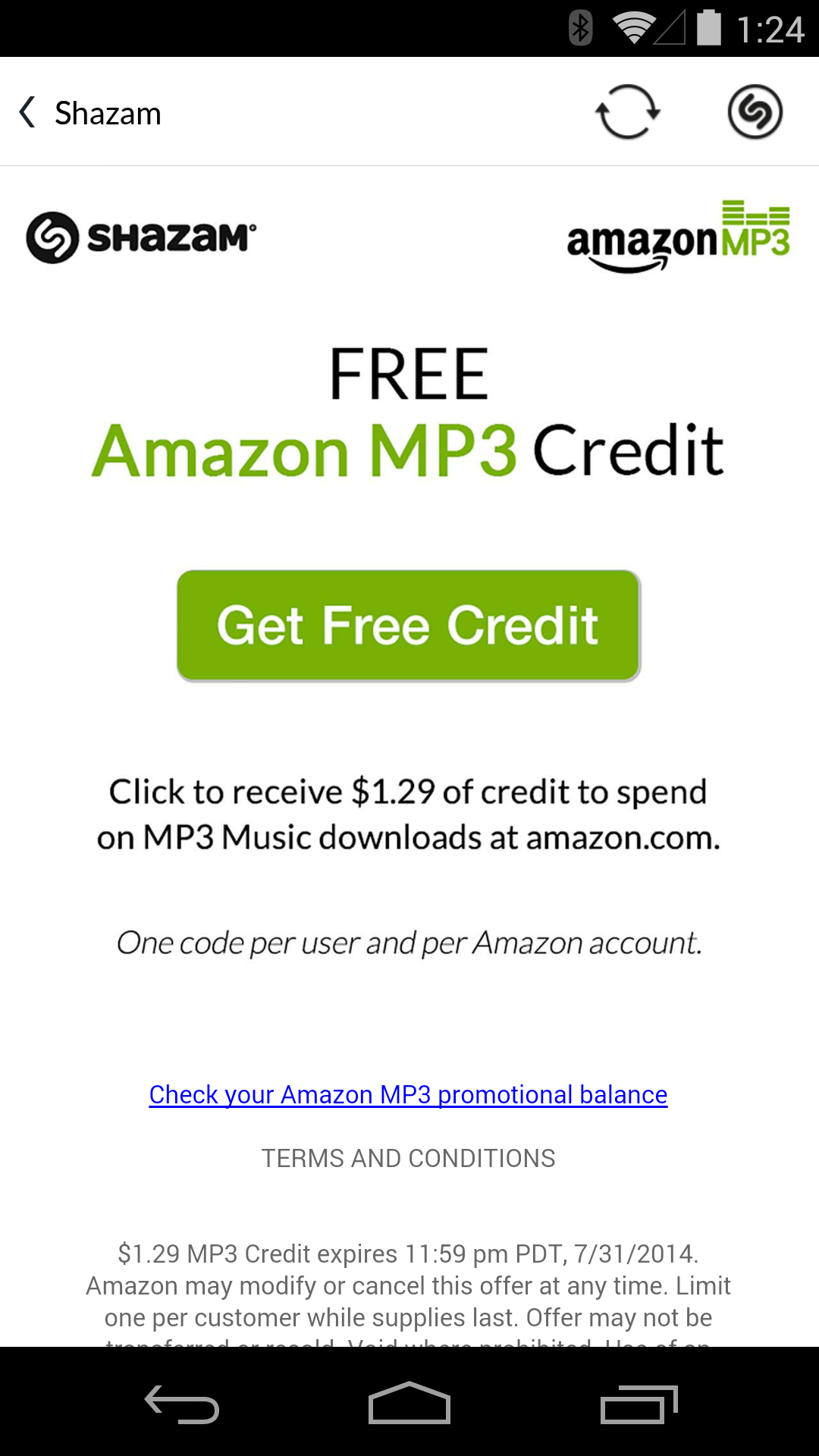 Deal Alert] Shazam A Song And Get $1 29 In Amazon MP3 Credit, Good