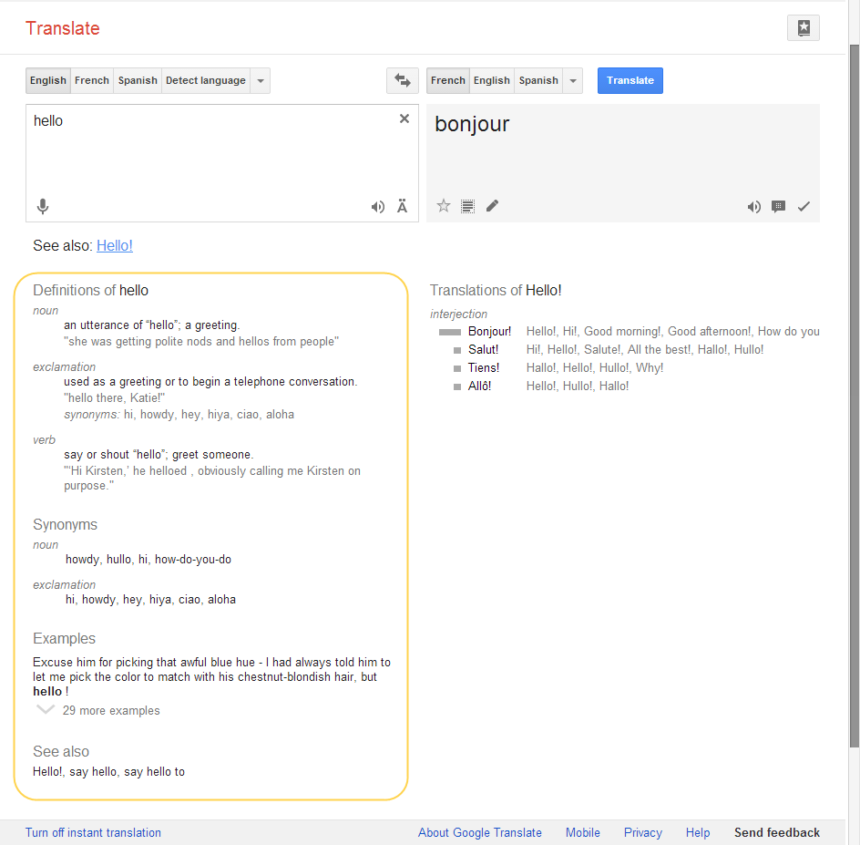 Google Translate Adds Definitions Usage Examples To Web Interface