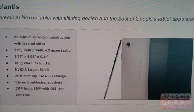 Características Nexus 9
