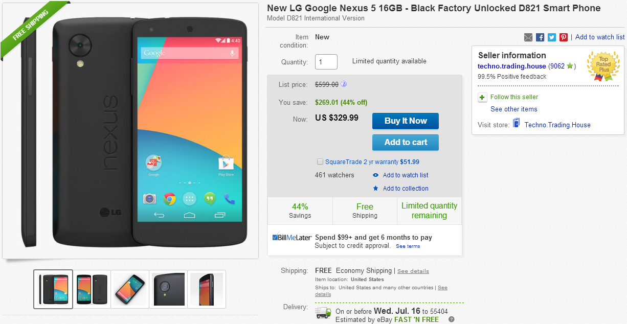 [Deal Alert] 16GB Nexus 5 (International LTE) For $329.99 With Free Shipping (Tax Only In MO) On eBay Daily Deals
