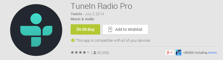 TuneIn Radio Pro Price Jumps From $3 99 To $9 99 Without