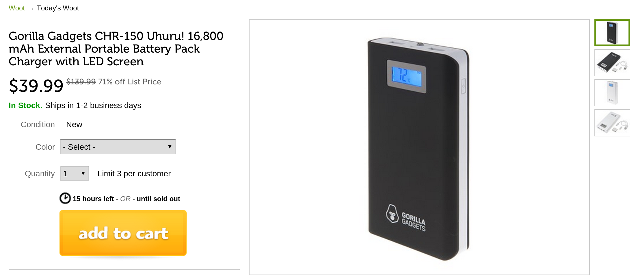 Deal Alert] Gorilla Gadgets 16,800mAh External Battery Pack With LED