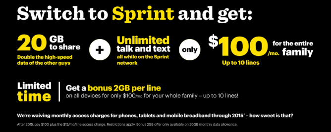 Sprint Announces Family Share Pack Offering 20gb Of Shared