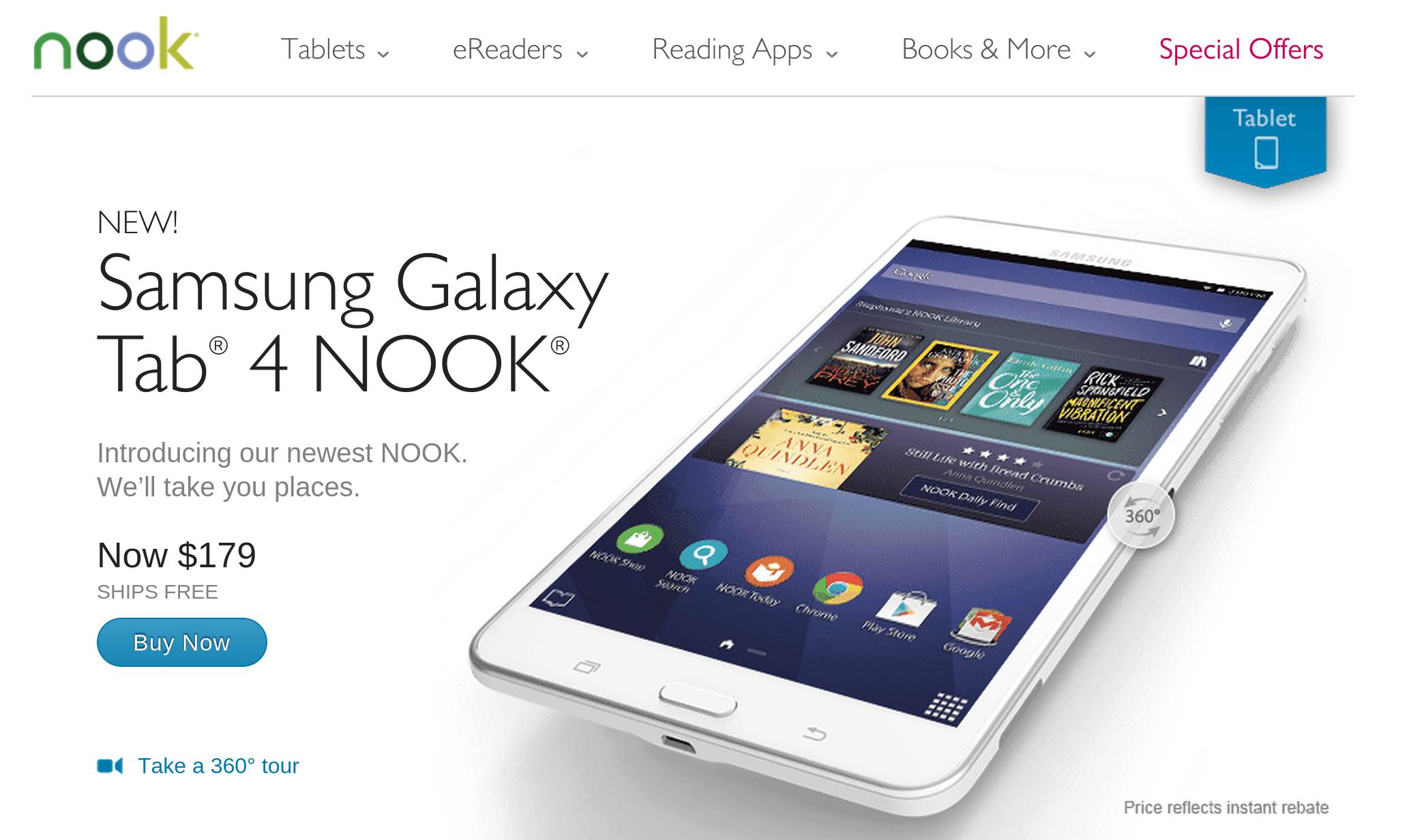 Barnes Noble Begins Selling The Samsung Galaxy Tab 4 Nook A