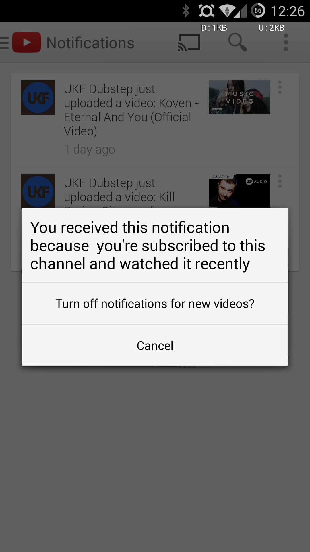 how to cancel notifications on youtube