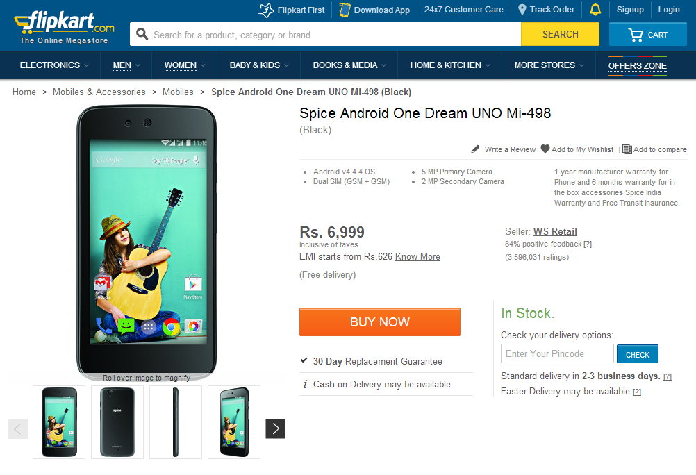 First Android One Handset From Spice Apparently Listed On