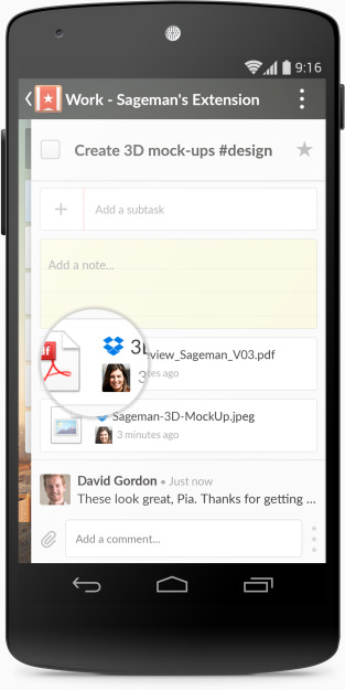 Wunderlist Dropbox Android (magnifier)