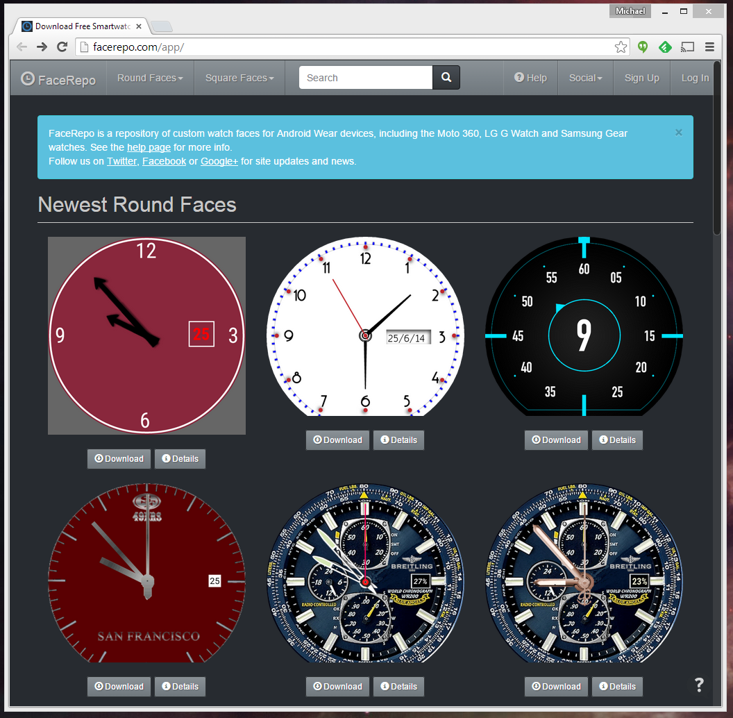 Facer android wear -  Just Download The Zip File On Any Single Entry And Open It With The Facer App S Built In File Browser Badda Bing Badda Boom Your Android Wear Device