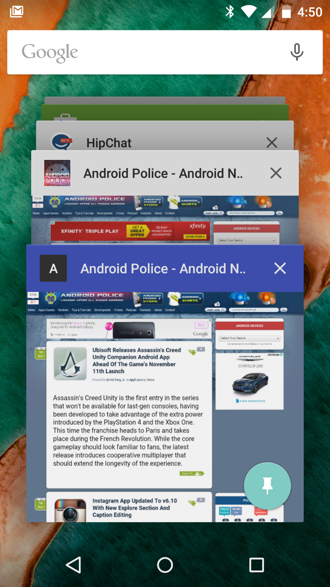 Chrome v39 On Lollipop Supports Custom Multitasking Header/Status Bar Colors With A Simple HTML Tag