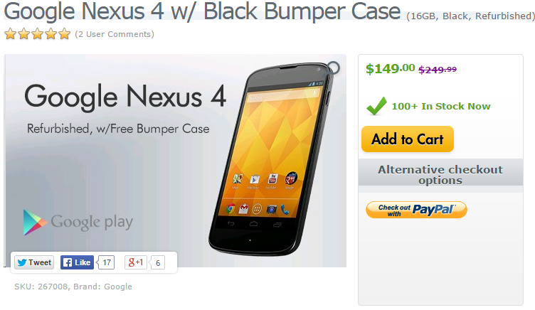 [Deal Alert] Get A Refurbished Nexus 4 From Expansys For $129.99 (8GB) Or $149.99 (16GB) With A Free Bumper Case