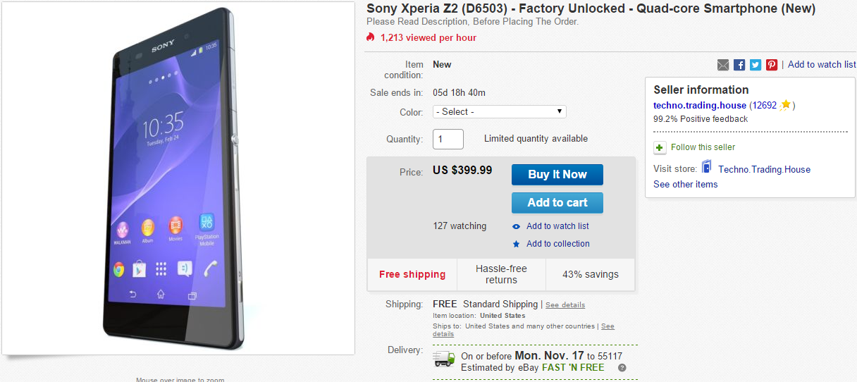new styles 6ce93 9c4f7 Deal Alert] New Unlocked Sony Xperia Z2 For $399.99 From eBay Daily ...