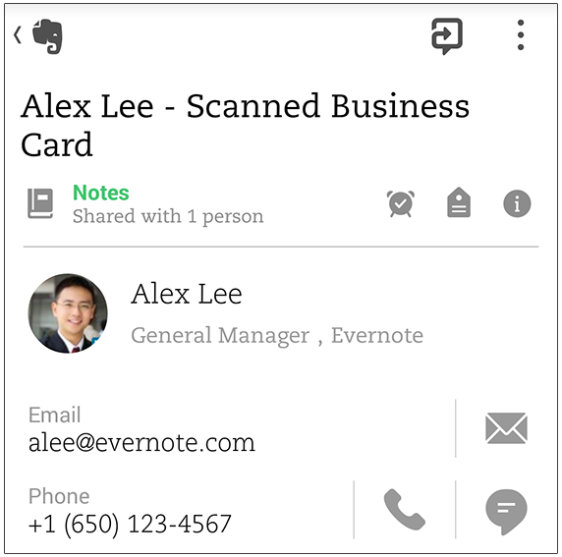 Evernote premium customers can now scan business cards using the business card notes are formatted to help you perform expected tasks email addresses have envelopes beside them that can shoot you out to your email app reheart Choice Image
