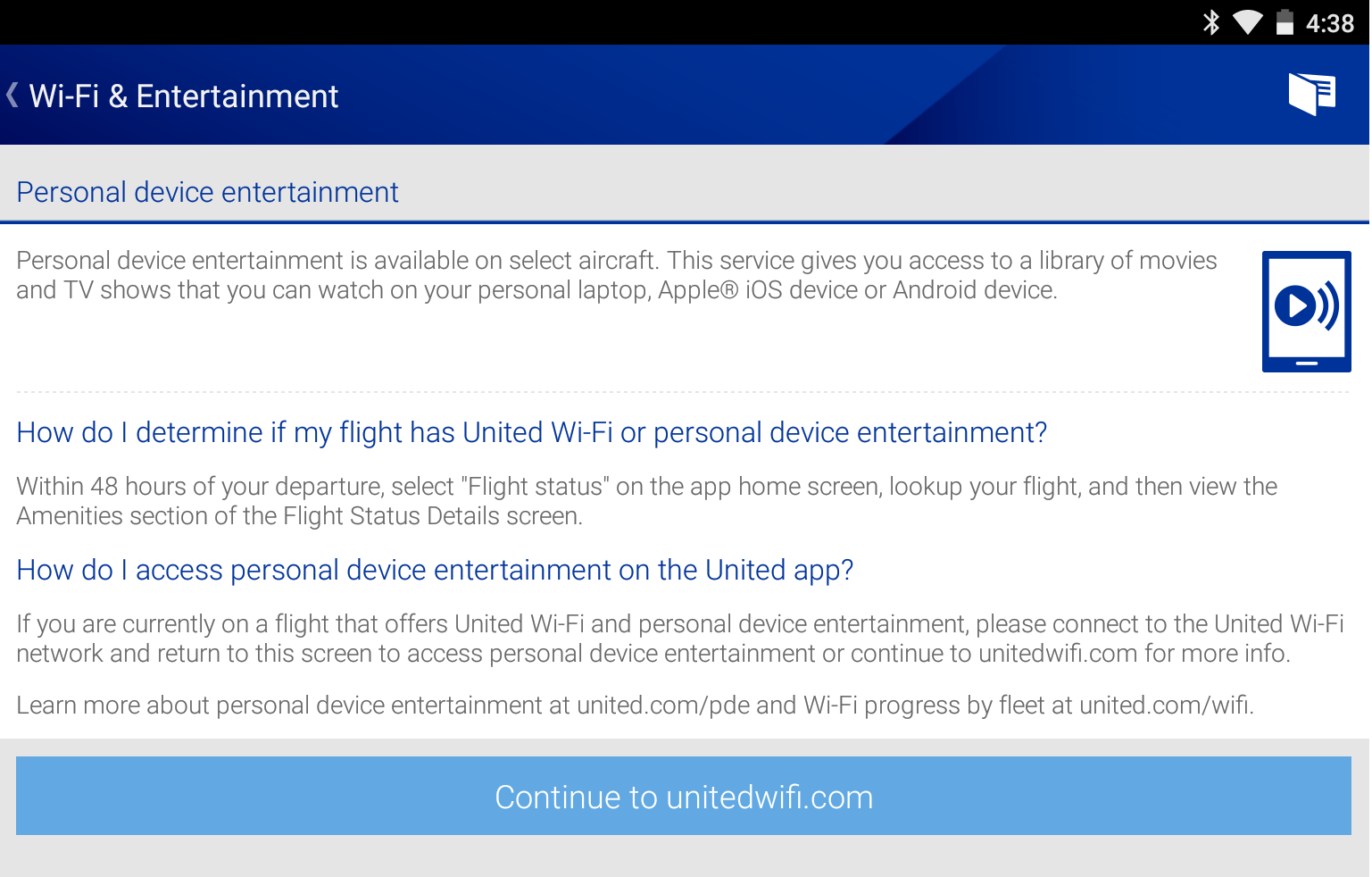 app to watch movies on united