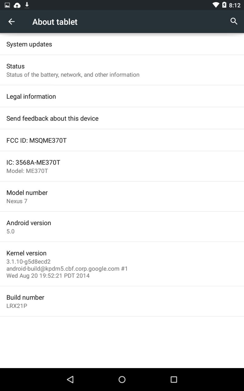 Imagem de fabrica do Android Lollipop para o Nexus 7 Wifi (de 2012) aparece na internet e está disponivel para download 3