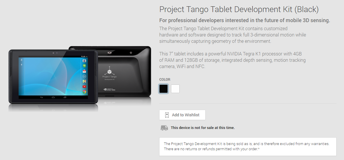 The Project Tango Tablet Development Kit Is On The Play ...