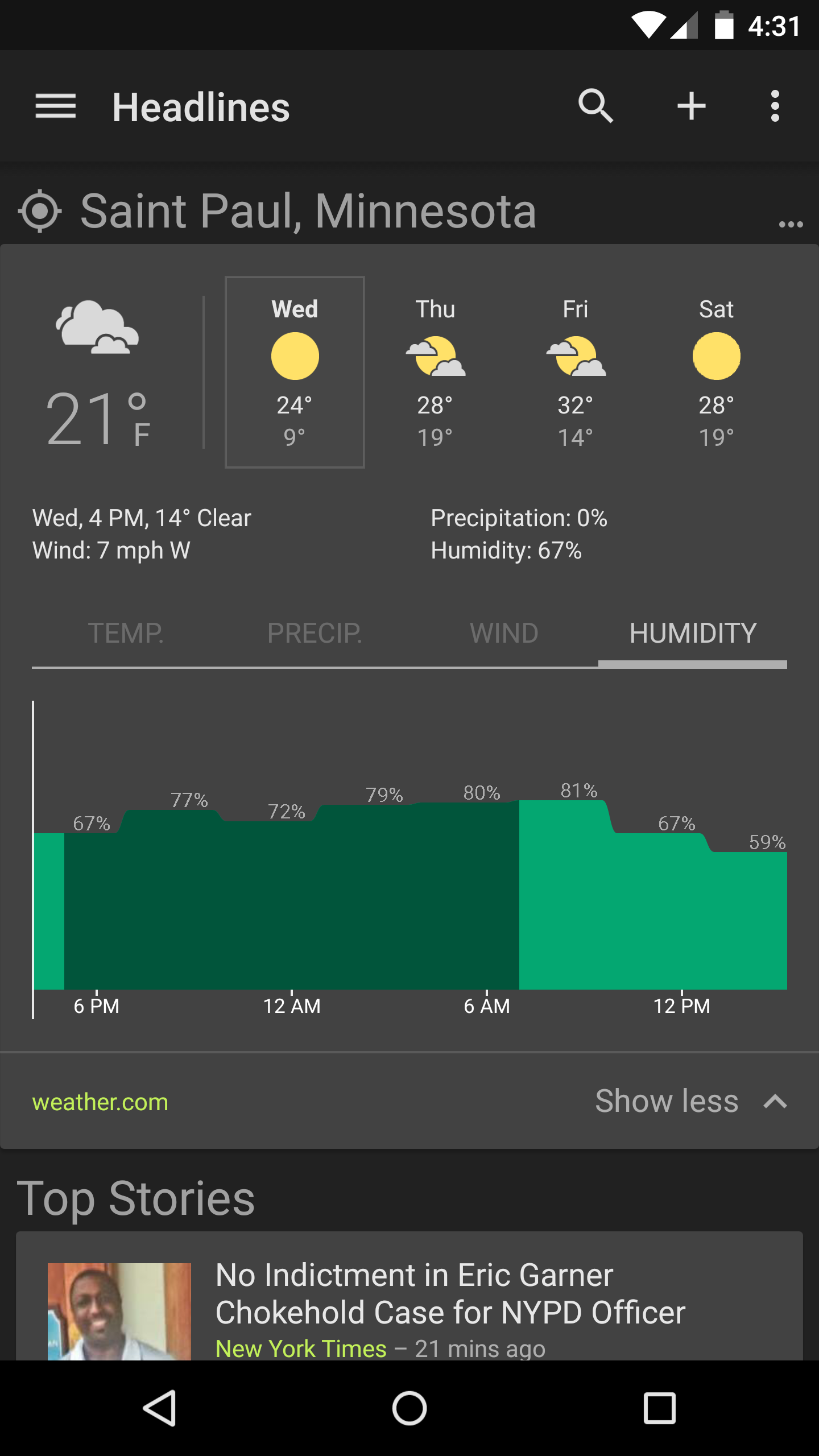 Google News And Weather App Updated To V22 With Dark Theme Option