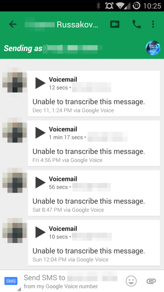 how to change hangouts voicemail