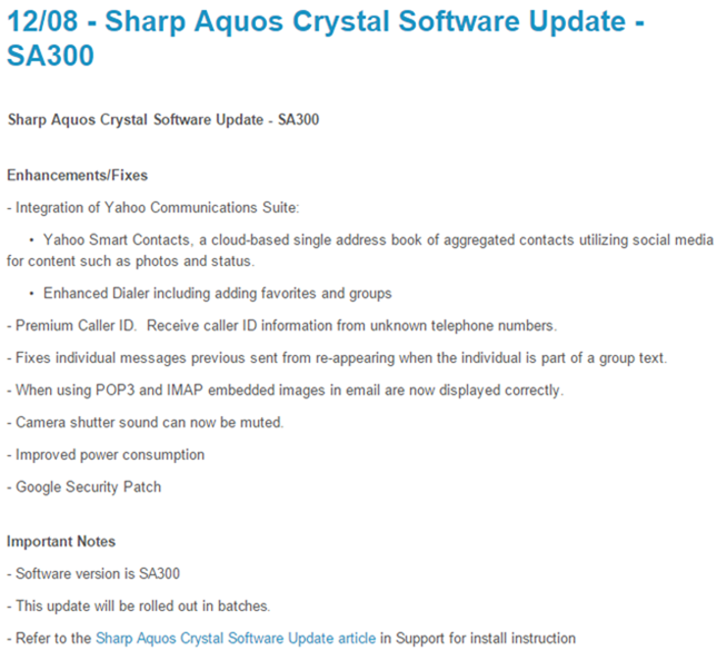 [Not Lollipop] Sprint Sharp Aquos Crystal Getting Software Update With Bug Fixes And More