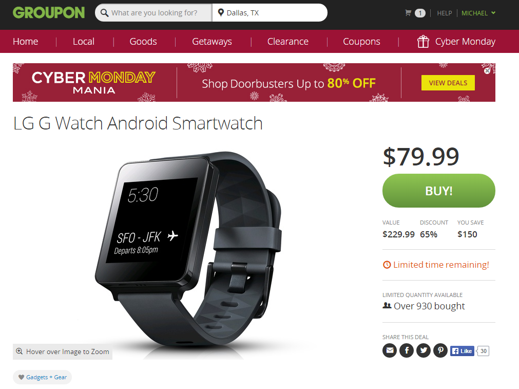 [Deal Alert] Hurry: Groupon Is Selling The LG G Watch For $80 ($150 Off!) With Free Shipping