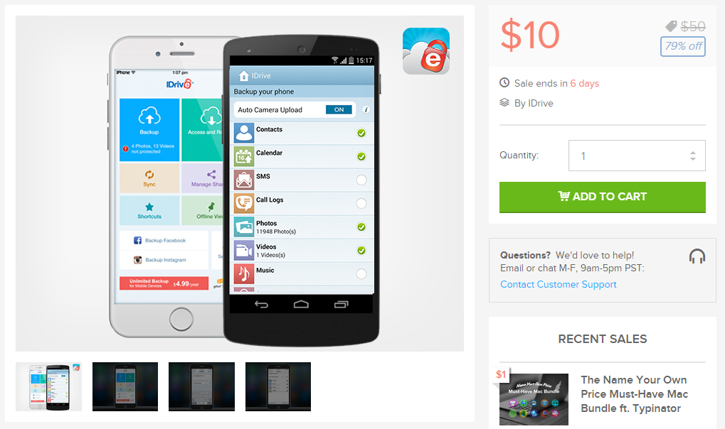 Idrive unlimited mobile backup lifetime subscription