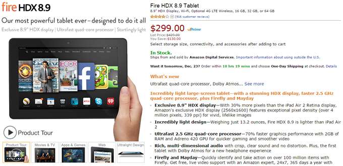 Deal Alert] Amazon's Kindle Fire HDX 8 9 Is 30% Off Today