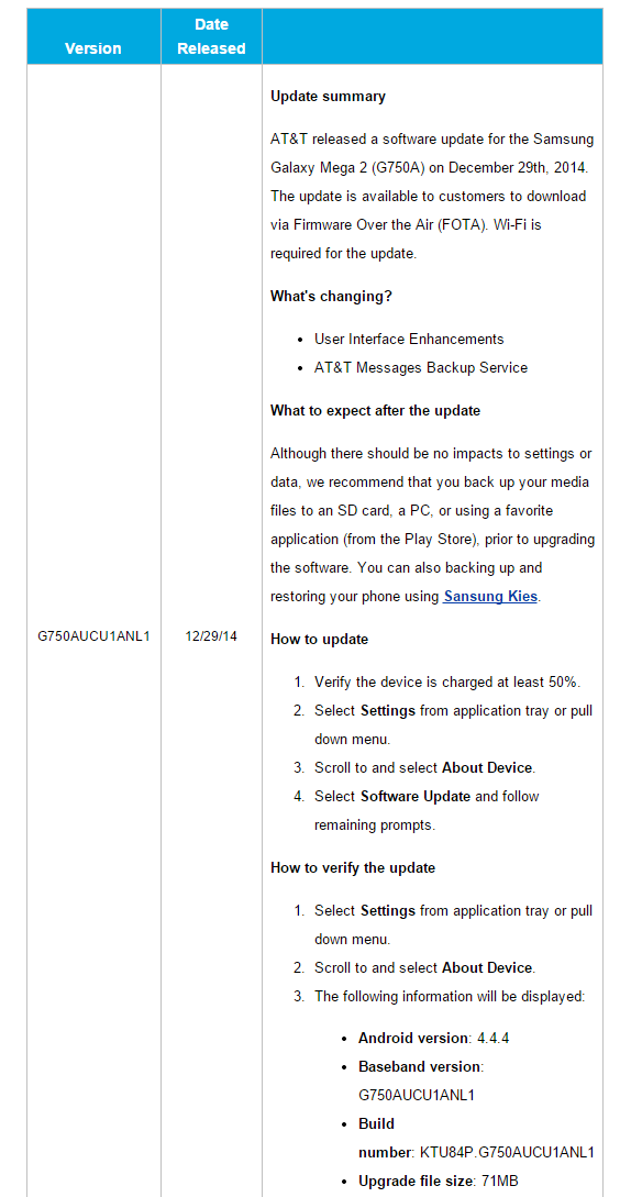 AT&T Issues Small OTA Updates For The Samsung Galaxy Mega 2