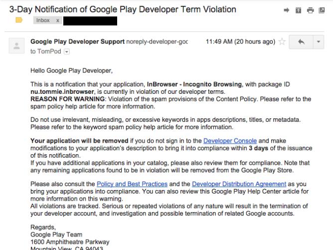 nexus2cee fake voilation1 668x501 Sviluppatori Android state attenti alle mail Truffa
