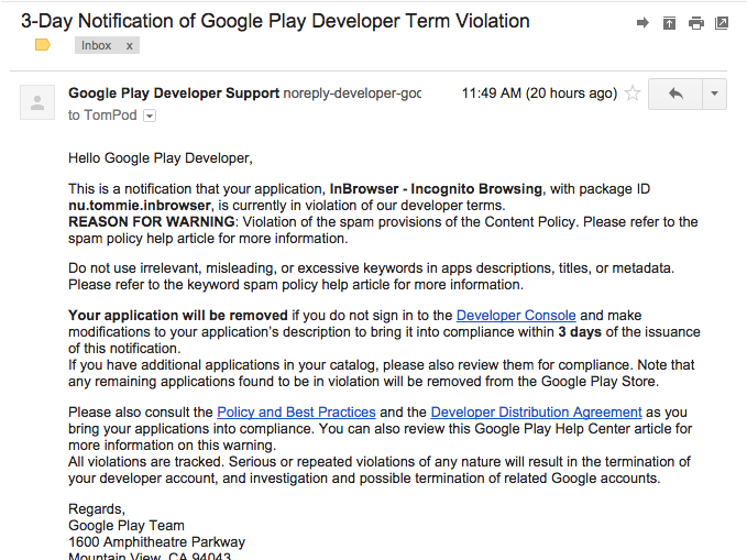 Developers Look Out For This 3 Day Notification Of Google Play