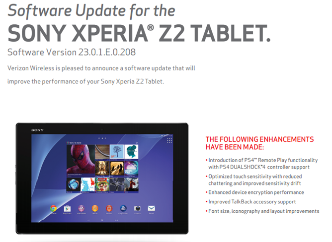 Verizon Xperia Z2 Tablet Gets An OTA Update With PS4 Remote